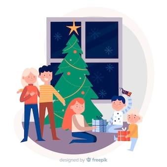 Escena familiar navidad