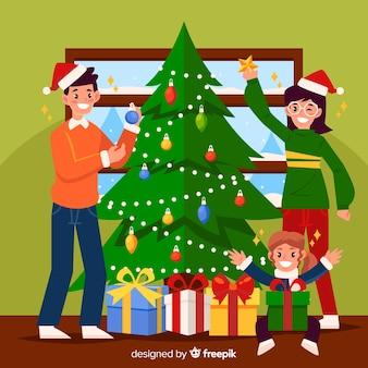 Escena familiar de navidad