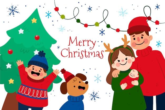Escena familiar navideña en diseño plano