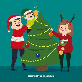 Escena familiar navideña plana