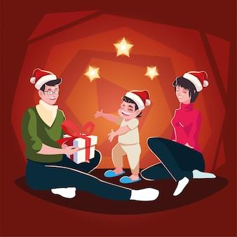 Escena familiar de noche de navidad, padres e hijos