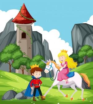 Escena de fantasía con príncipe y princesa.