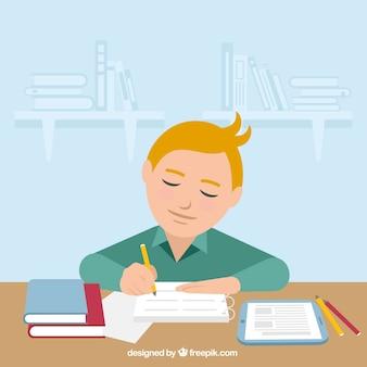 Escena fantástica de niño haciendo sus deberes