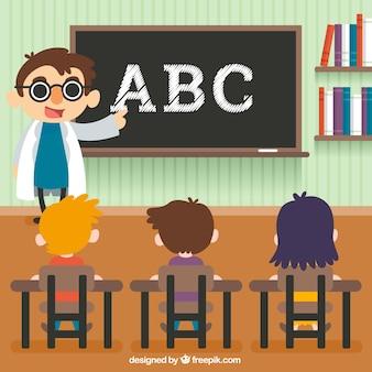 Escena fantástica de niños aprendiendo en el colegio