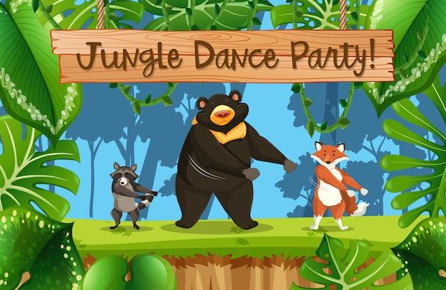 Escena de la fiesta de la jungla