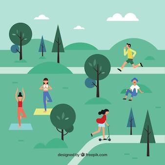 Escena flat de gente haciendo actividades en parque