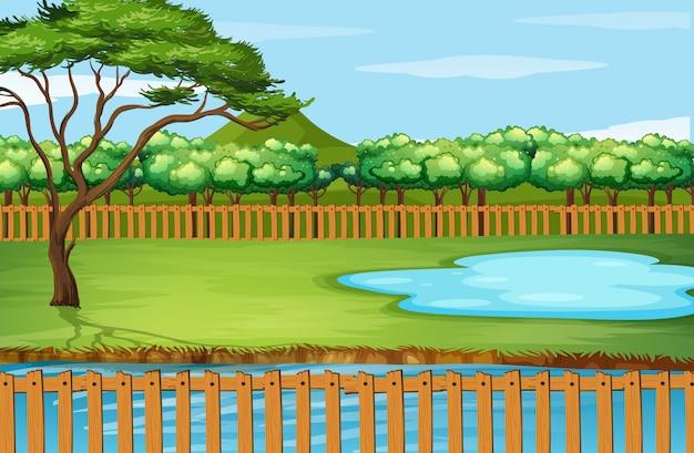 Escena de fondo con árbol y estanque