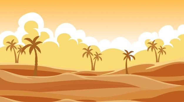 Escena de fondo con árboles en la arena