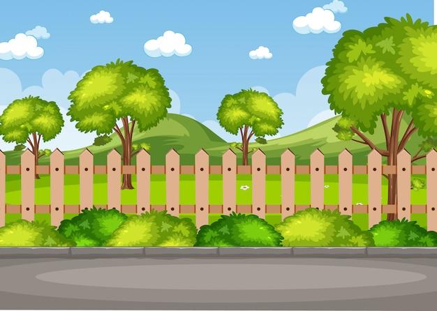 Escena de fondo con árboles en el parque