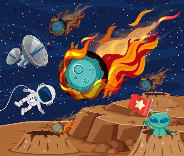 Escena de fondo con asteroide volando en el espacio