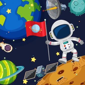 Escena de fondo con astronauta en el espacio