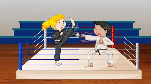 Escena de fondo con atletas haciendo karate