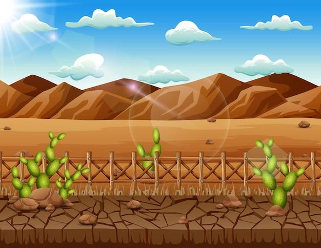 Escena de fondo con cactus y tierra seca en el desierto.