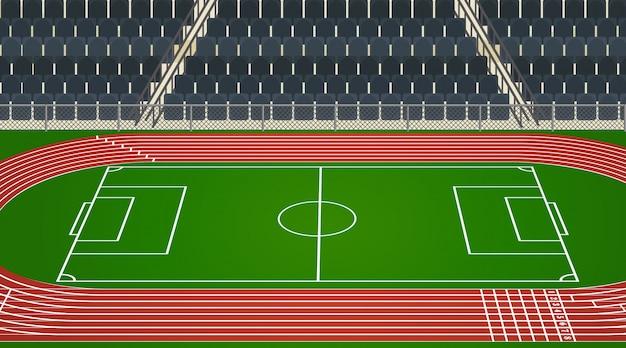 Escena de fondo del campo de fútbol y estadio