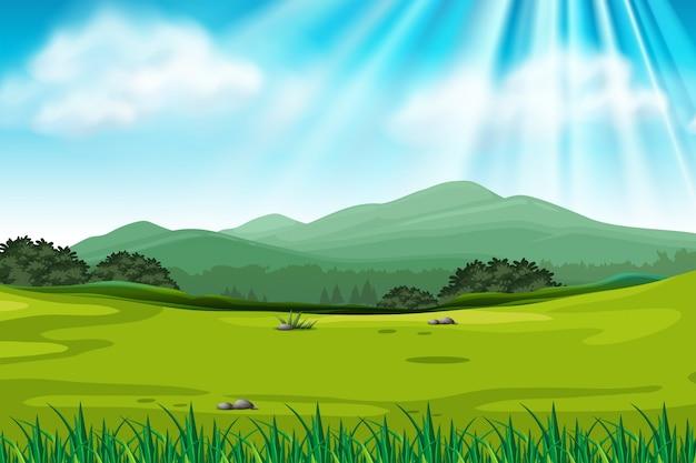 Escena de fondo con campo verde