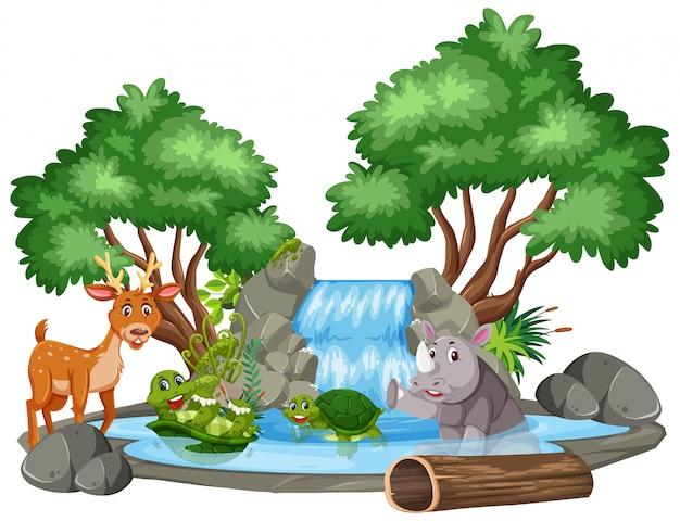 Escena de fondo de cascada y animales