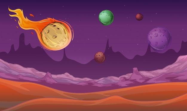 Escena de fondo con el cometa y otros planetas en el espacio