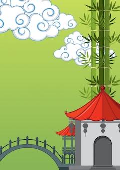 Escena de fondo con edificio chino y bambú