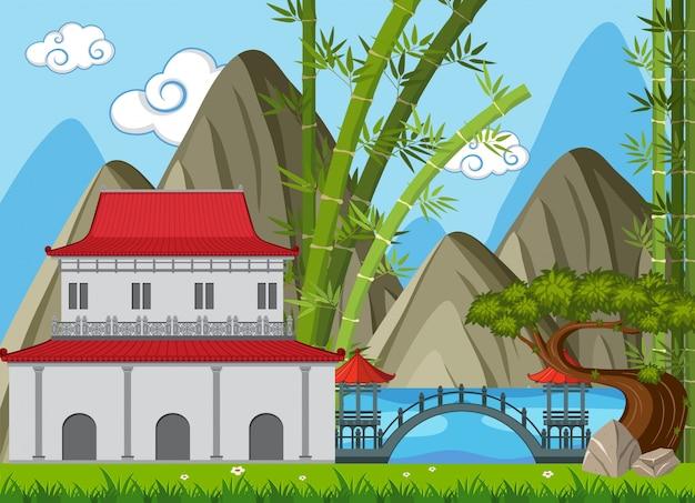 Escena de fondo con edificios en estilo chino en el campo
