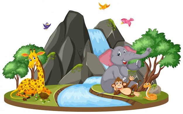 Escena de fondo de elefante y jirafa por cascada