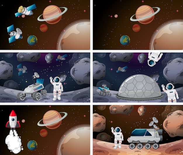 Escena de fondo del espacio o conjunto de fondo