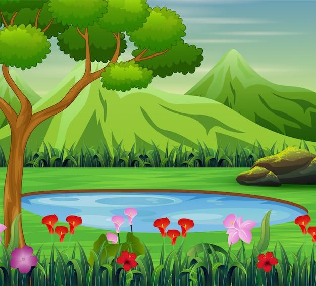 Escena de fondo con estanque en la montaña