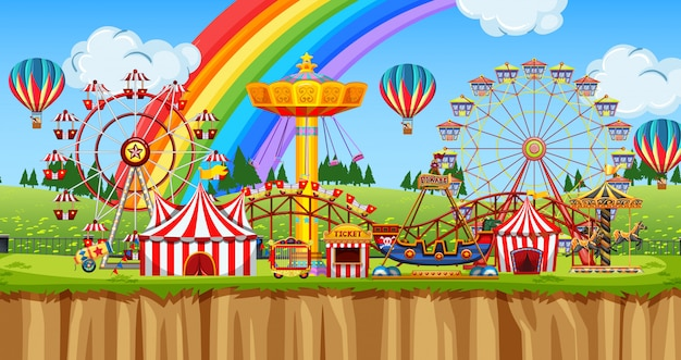 Escena de fondo del funpark con muchas atracciones