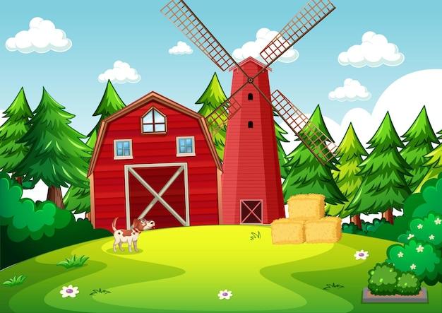 Escena de fondo con granero rojo y molino de viento en la granja