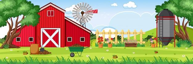 Escena de fondo con granero rojo y silo en la granja