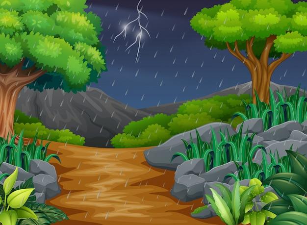 Escena de fondo con lluvia en el parque