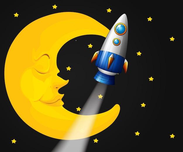 Escena de fondo con luna y cohete vector gratuito
