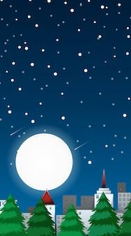 Escena de fondo con luna llena en la ciudad