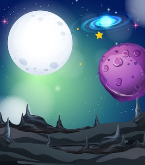 Escena de fondo con luna llena y estrellas en el espacio
