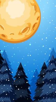 Escena de fondo con luna llena en invierno