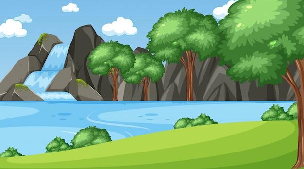 Escena de fondo con muchos árboles en el parque