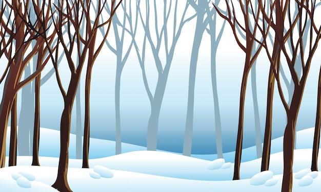 Escena de fondo con nieve en el bosque
