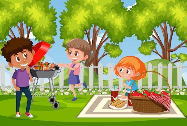 Escena de fondo con niños felices en el parque