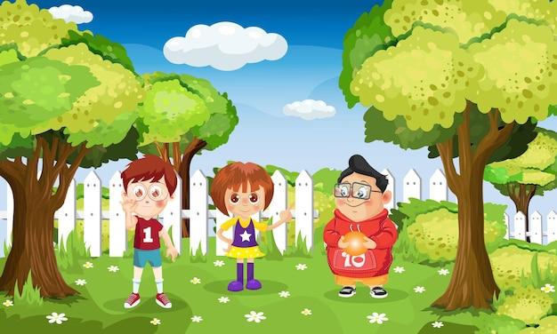 Escena de fondo con niños jugando en el parque.