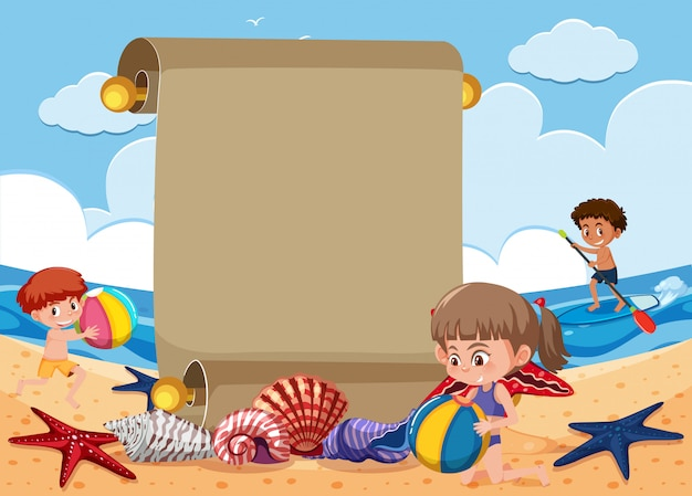 Escena de fondo con niños jugando en la playa