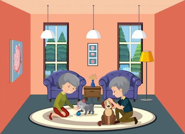 Escena de fondo con pareja de ancianos en casa