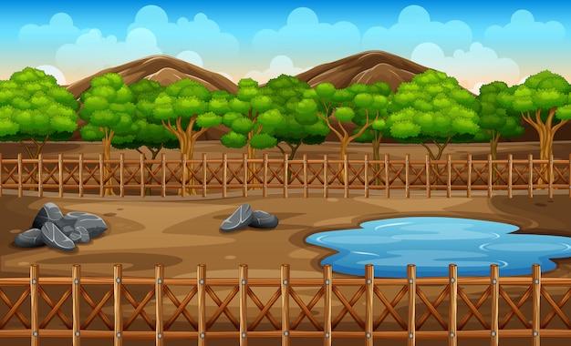 Escena de fondo del parque con estanque y árboles