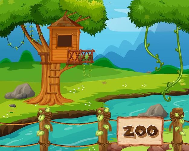 Escena de fondo del parque zoológico con río y casa del árbol