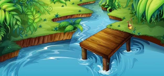 Escena de fondo con pequeño muelle junto al río
