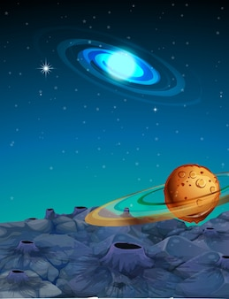 Escena de fondo con planetas en el espacio