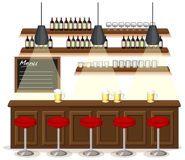 Escena de fondo de pub y restaurante.