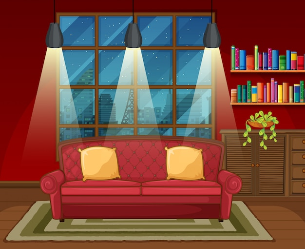 Escena de fondo de la sala de estar