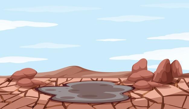 Escena de fondo con sequía y estanque de barro
