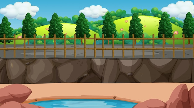 Escena de fondo con valla alrededor del parque