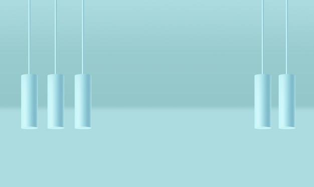 Escena de forma geométrica realista, fondo azul, forma mínima aislada, banner abstracto, ilustración de luces de cilindro