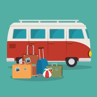 Escena de furgonetas y maletas